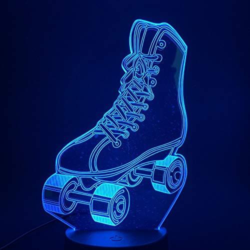 3D Nachtlampe Sicherheit erste, Rollschuhe Touch-Schalter Farbwechsel für Atmosphäre Kind Mädchen Lampe Lampen Kinder Geburtstag Acryl Geschenke Illusion Licht Schlafzimmer Nacht Spielzeug Geschenk
