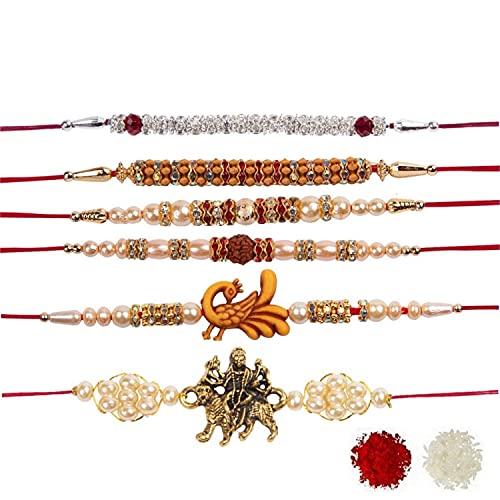 Efulgenz Rakhi Indian Raksha Bandan - Pulsera de perlas de imitación para hermano (6 unidades)