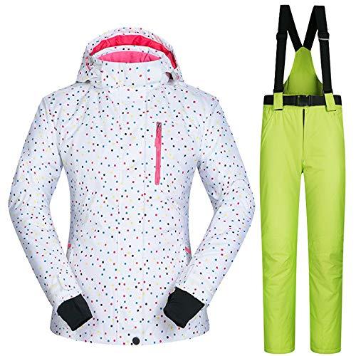 Skianzug für Frauen und Hose, Winddicht wasserdicht atmungsaktiv warme Skikleidung Skimantel tragen Schnee Winter Frauen Snowboard Jacke,Suit3,XL