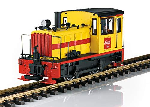 LGB Gartenbahn Coca-Cola Diesellokomotive – L27631, Rangierlok, Epoche III, mit Spitzenlicht, rot-gelbe Lok, Outdoor-Eisenbahn, Spur G