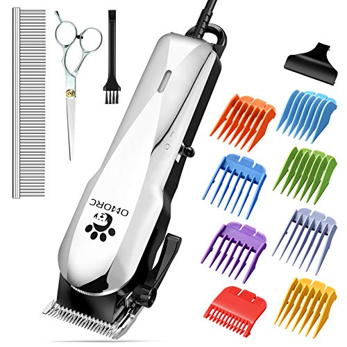 OMORC Dog Clippers with 24V Powerful Motor, Plug-in & Quiet Professional Dog Grooming Kit, Dog Hair Trimmer with 8 Comb Guides, Pet Grooming Clippers for Thick Coats Dogs Cats Horse & Others