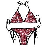 Conjuntos de Bikini para Mujer Impresos Copo de Nieve de la Navidad, Traje de baño de la Playa del Traje de baño del triángulo