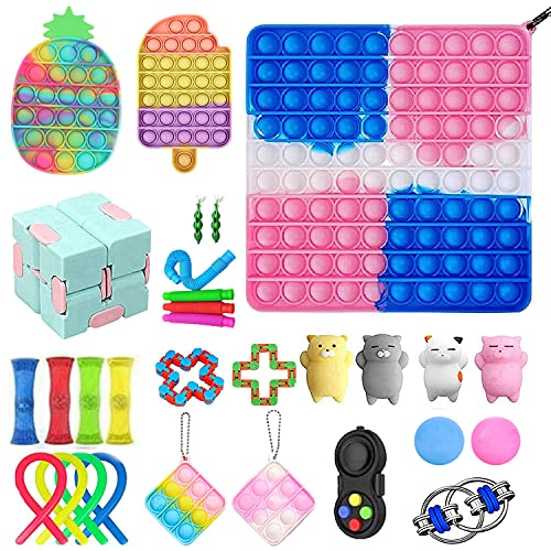 Fidget Packs Anti-Anxiety Tools, Sensory Fidget Toy Pack with Big Size Push Pop Bubble with Mini and Marble Mesh Anxiety Tube Fidget Block Set for Adults Kids (15)