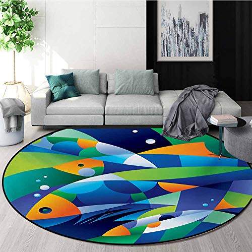 Best Price Ocean Modern Machine Washable Round Bath Mat,Abstract Digital Geometric Pieced Fish with ...