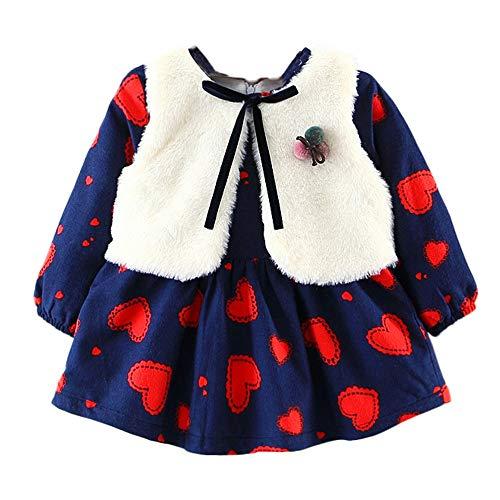 OverDose Damen 2018 Neugeborenen Baby Mädchen Cartoon Warme Prinzessin Liebhaber Print Kleid + Weste Outfits Kleidung Set(Marine,12M)