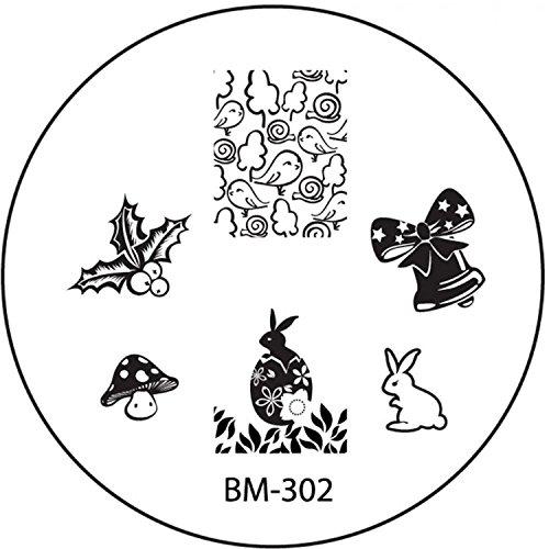 STAMPING-SCHABLONE # BM-302 °°Ostern, Osterhase, Osterei, Osterglocke, Osterküken, Fliegenpilz°°