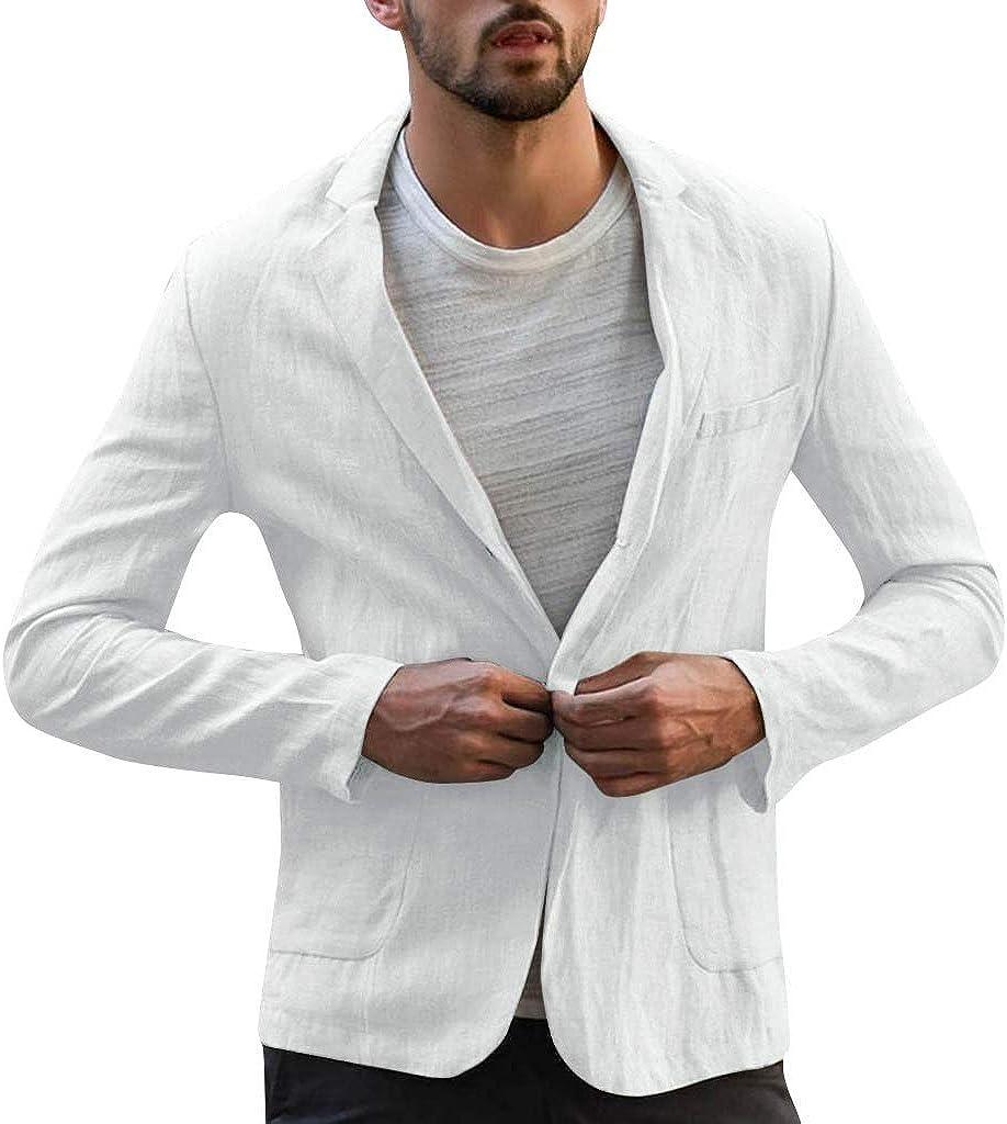 Men's Slim Fit Linen Jacket One Button Pocket Solid Color Long Sleeve Suits Blazer Lightweight Jacket Outwear