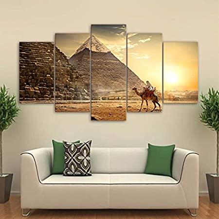 5 Teilige Leinwandbilder Painting Kunstdruck Pyramiden-Gem/älde-Sphinx Bilder auf Leinwand 5 Teile Leinwanddrucke Wohnzimmer Wohnkultur 100X55Cm