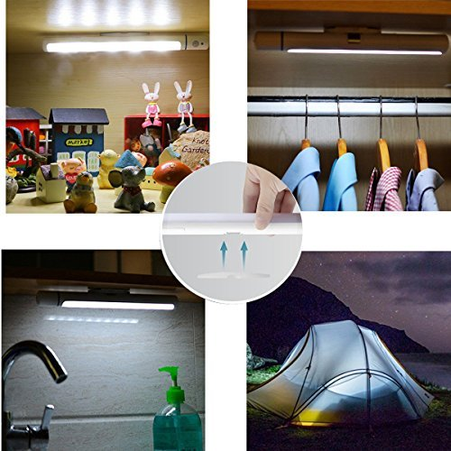VICTORSTAR Motion Sensor Wardrobe Night Light 5 LED Sensing Activated Night Light, Rotating Sensor, Magnet Base and Portable for Wardrobe, Cabinet, Camping, Corridor, Stair, Hallway - Cool White