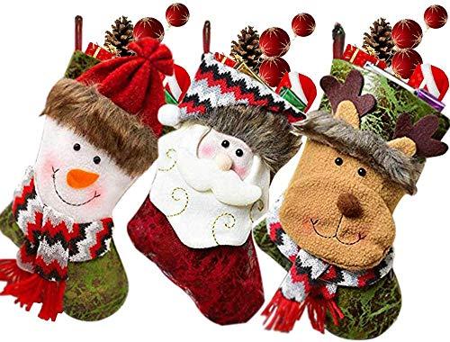 MMTX 3 Pezzi Calza Natalizia,Calze da Caminetto con Babbo Natale, Pupazzo di Neve, Renna, Personaggio Natalizio in Peluche 3D con Polsino in Pelliccia Sintetica, Decorazioni Natalizie (10')