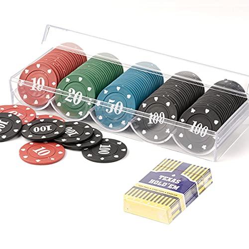 LJ Caja fichas de póquer Profesional Familiar fichas Digitales fichas de póquer Conjunto de fichas de póquer con 1 Barajas de Cartas, Maletín de Póker Acrílico (100 unids)
