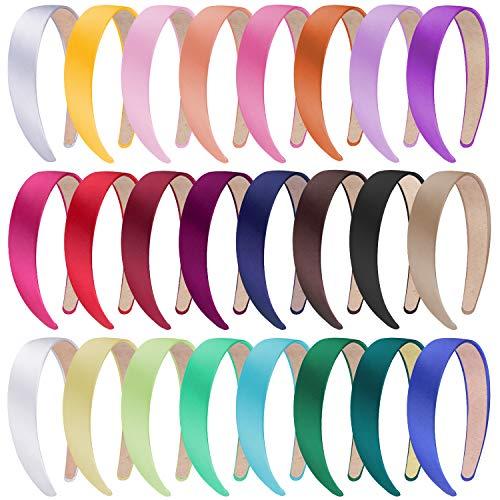 SIQUK 24 Stück Haarreifen Damen Satin Stirnbänder für Damen Mädchen, 24 Farben