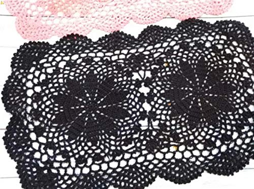 JIAYAN Pastorale Coton Dentelle Napperon Rectangulaire Table Nappe Tasse Tapis Tapis À La Main Dentelle Napperon Crochet Vin Boisson Coaster Set pour Cuisine, Noir, Rectangulaire 26X42CM