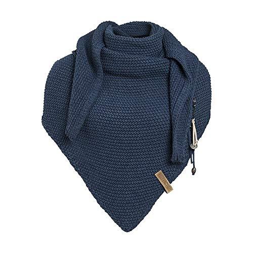 Knit Factory - Dreiecksschal Coco - Damen Strickschal mit Wolle - Hochwertige Qualität - XXL Schal - 190 x 85 cm - Jeans