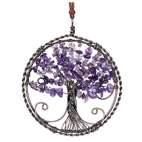JSDDE - Piedra de árbol de la vida para decoración de árbol de la vida con cuerda de chakra, adornos de árbol de la vida, hecho a mano, enrollada en bronce amatista