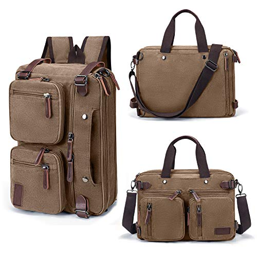 Fresion canvas rugzak voor dames en heren, retro schooltas business rugzakken universiteit werk notebook aktentassen laptoptassen van 14 tot 17,3 inch, Messenger schoudertas