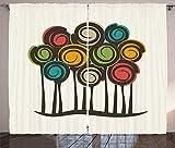 ABAKUHAUS Resumen Cortinas, Espirales Coloridos y Ronda, Sala de Estar Dormitorio Cortinas Ventana Set de Dos Paños, 280 x 225 cm, Champagne Multicolor
