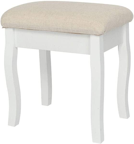 AK Energy White Vanity Stool Makeup Dressing Padded Bench For Living Room Bedroom Dorm Apartment Beige Seat Color