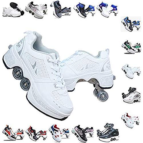 LT&NT Patines en línea multifuncionales, zapatos retráctiles de doble fila de ruedas Parkour, zapatos de patada ajustables, patines cuádruple para niños y adultos-E 39