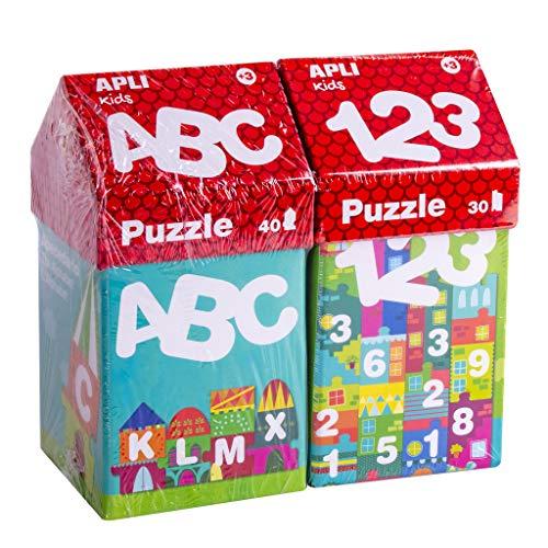APLI Kids 18776-Kit Especial Puzzles Casitas Educativos ABECEDARIO+ NÚMEROS (14805+14806) (18776)