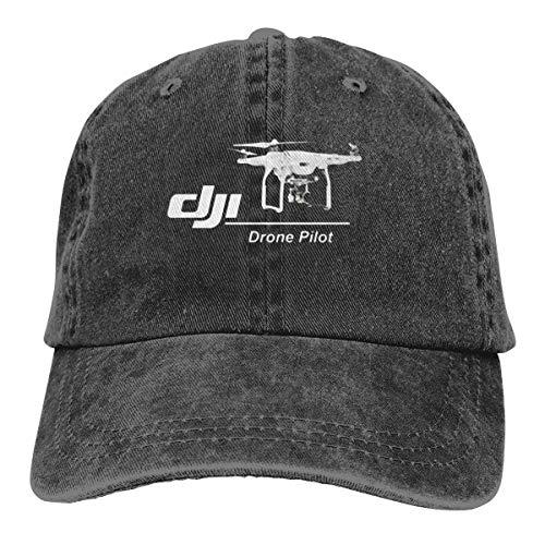 DoerKain DJI Passion Drone Pilot Unisex Adjustable Hat Travel Sunscreen Caps, Black, One Size