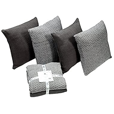 HILLFAIR 100% Cotton 4 PACK Throw Pillow Covers Cases - 18 x 18 inches Throw Pillow Cushion covers for Sofa Couch - Chevron Decorative Throw Pillow Cushion Covers- Grey Sofa couch Throw Pillow covers
