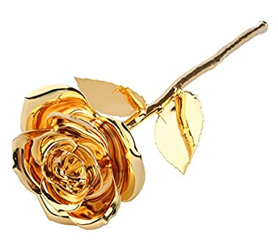ZJchao 24k Dipped Gold Rose Foil Flowers - Rose-open (12 Inches)
