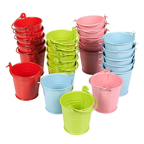 Juvale Mini Metal Buckets with Handles, Mini Pails in 4 Colors (2 Inch, 24-Pack)