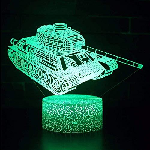 Kreative 3D Panzer Nacht Licht 7 Farben Andern Sich USB Adapter Touch Schalter Dekor Lampe Optische Täuschung Lampe LED Lampe Tisch Kind Geburtstag Weihnachten Geschenke