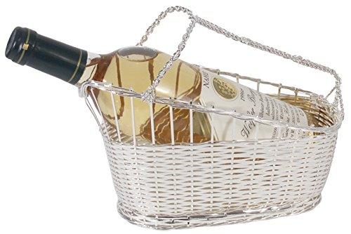 Weindekantierkorb, Serie SILVER-LINE, aus versilbertem Zinkguss, Boden geschlossen für 0,75 l-Flaschen / 24 x 11 x 18 cm | ERK