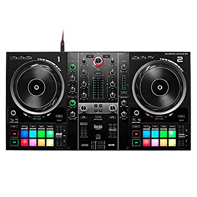 Hercules DJControl Inpulse 500: 2-deck USB DJ controller for Serato DJ and DJUCED (included) -built-in audio interface, 16 backlit RGB pads, large jog wheels, built-in hardware input mixer