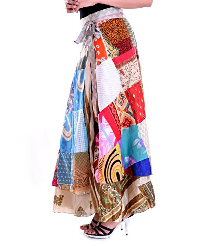 Handicraft-Palace Silk Printed Patchwork Women's Wrap Around Skirt - Free Size for Woman and Girls Long Wrap Around Skirt