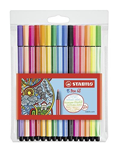Stabilo Pen 68 Rotulador, Estuche con 15 colores surtidos, con 5 colores...