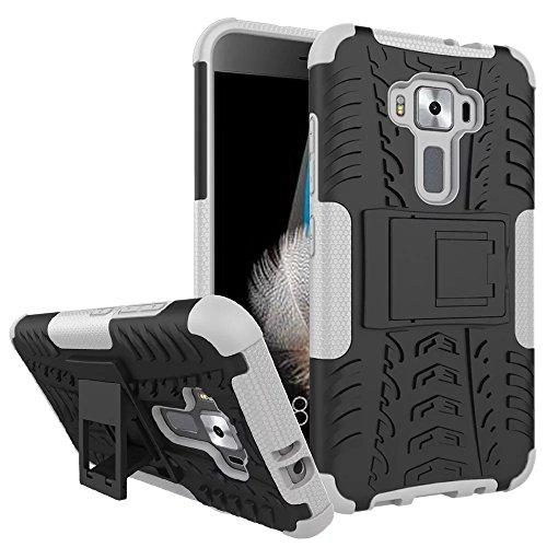 Sunrive Für ASUS ZenFone 3 ZE520KL 5,2 Zoll, Hülle Tasche Schutzhülle Etui Hülle Cover Hybride Silikon Stoßfest Handyhülle Hüllen Zwei-Schichte Armor Design schlagfesten Ständer Slim Fall(Weiß)