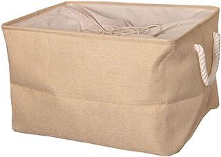 Leorealko Linen Storage Bag Large Capacity Sundries Storage Organizer Basket with 2 Hand Strap