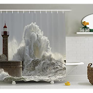 Ambesonne Lighthouse Decor Collection, Big Waves in a Sunny Storm Portuguese North Coast Catastrophe Disaster Beacon Picture, Polyester Fabric Bathroom Shower Curtain Set, 75 Inches Long, Gray White