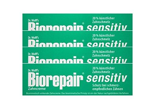 4x Biorepair Zahncreme sensitiv mit Hydroxylapatit 75 ml Ohne Fluorid