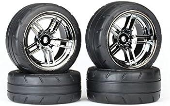 "Traxxas 8375 Assembled Black Chrome Split-Spoke Wheels with 1.9"" Response Tires (Rear)"
