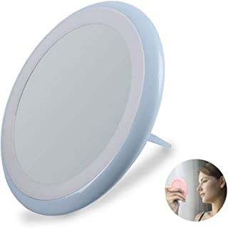 CWeep LED Makeup Mirror 7X Magnifying Mirror Lighted Travel Makeup Mirror Small Makeup Mirror with Hand Held Ring Light Brightness Improved 200% Folding Mirror (Green, Pink, Blue) Improved
