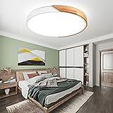 MOONSEA 24W Lámpara de techo LED Regulable, Lámpara de techo Madera y Blanco con Mando a Distancia, para Salón, Dormitorio, Comedor - Blanco(40*40*5cm)