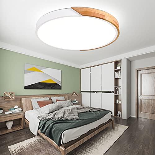MOONSEA 24W Lámpara de techo LED Regulable, Lámpara de techo Madera y...