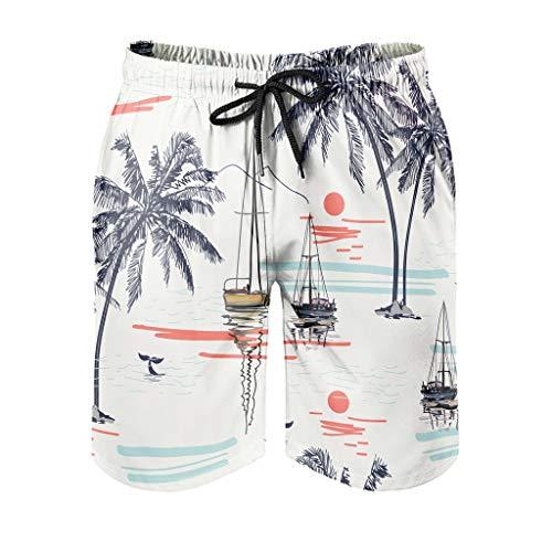 Ktewqmp Zomer zwembroek kokosnootboom mannen zwembroek zwemshorts heren met zakken Hawaiiaans