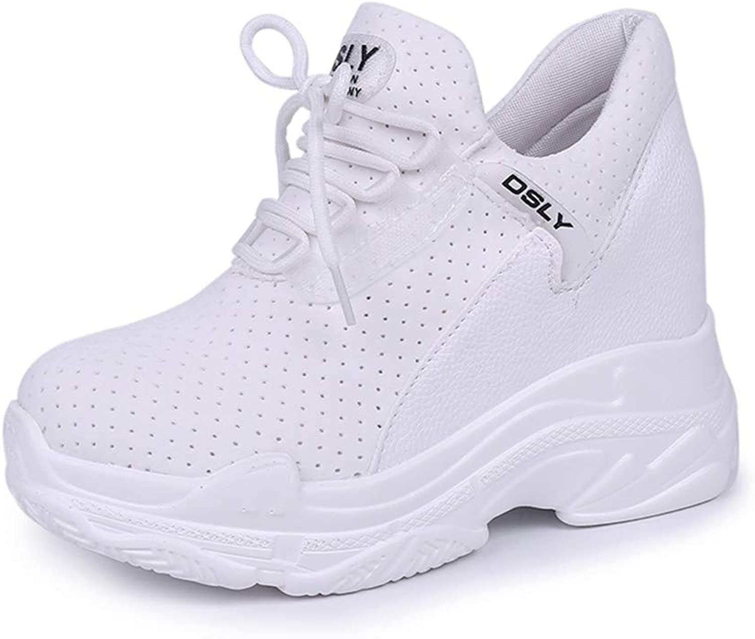 Hoxekle High Platform Wedge Sneakers Women Breathable Mesh Air Height Increasing Casual shoes Woman Ladies White Trainers