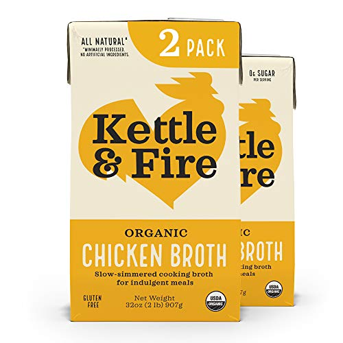 Kettle and Fire Organic Chicken Broth, Keto, Paleo, and Whole 30 Approved, Gluten Free, High in Protein and Collagen, 2 Pack (32 Ounces)