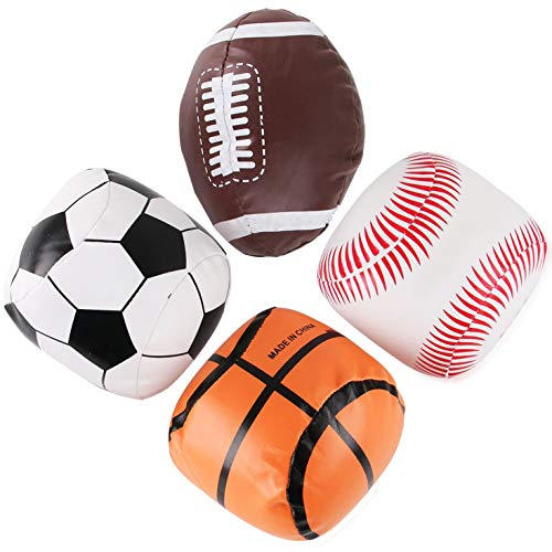 "5"" Mini Soft Plush Sports Balls Set for Kids - Set of 4 (Football, Baseball, Basketball, Soccer)"