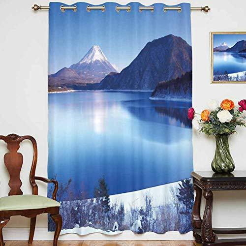 Cortinas de invierno para sombreado Fuji Mountain en temporada de invierno, nevado y montaña en la parte superior de Japón con ojales impresos, panel individual de 160 x 182 cm, para puerta corredera