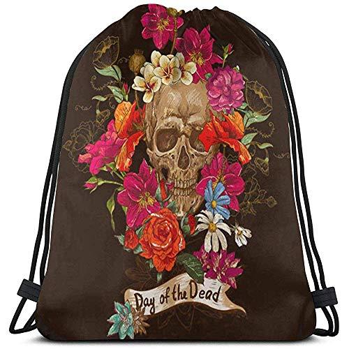 Colorful Flowers Sugar Skull Drawstring Backpack Durable Lightweight Casual Gym Bag Cinch Bags Portable Storage Bag