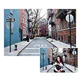 LFEEY 7x5ft City Backdrops for Photoshoot New York Street Village West Manhattan Buildings NYC Alley Guide Board Retro Street Photography Background Kids Baby Adults Portrait Photo Studio Props