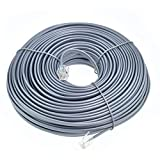 RJ11 6P4C Modular Telephone Extension Cable Phone Cord Line Wire (100 Feet, grey)