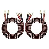 HiFi OFC - Cable de altavoz con conector de pala a conector banana (4 mm, conector banana a 4 conectores en forma de Y, conector de extensión chapado en oro, 2 m)